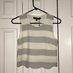 Living doll gray/white crop top! NWT!!!